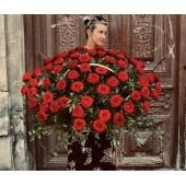 Корзина из 101 розы высотой 80 см.