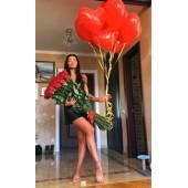 51 метровая роза + 9 шаров
