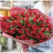 39  красных кустовых роз